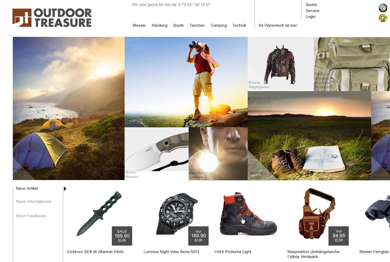 outdoor treasure webshop entwicklung machart studios. Black Bedroom Furniture Sets. Home Design Ideas